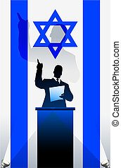 Israel flag with political speaker behind a podium