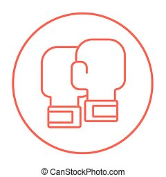 Boxing gloves line icon. - Boxing gloves line icon for web,...