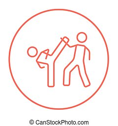 Karate fighters line icon. - Karate fighters line icon for...