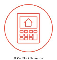 Calculator with house on display line icon. - Calculator...