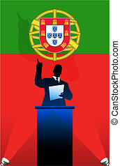 Portugal flag with political speaker behind a podium