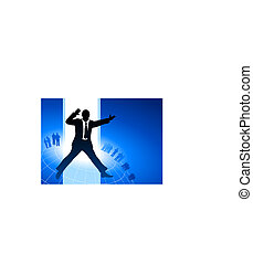 Original Vector Illustration: excited businessman with business team on blue internet background AI8 compatible