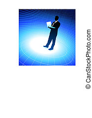 Original Vector Illustration: businessman holding laptop computer internet background with binary code