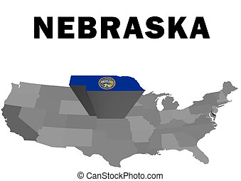 Nebraska - Outline map of the United States with the state...