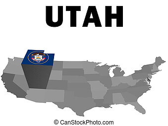 Utah - Outline map of the United States with the state of...