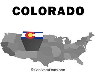 Colorado - Outline map of the United States with the state...