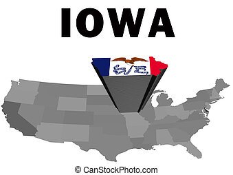 Iowa - Outline map of the United States with the state of...
