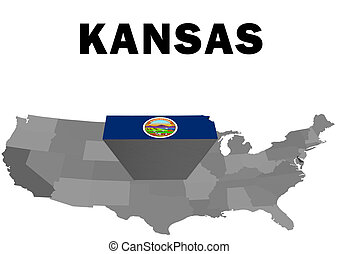 Kansas - Outline map of the United States with the state of...