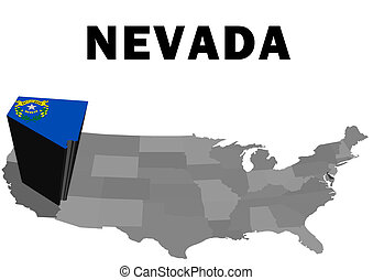 Nevada - Outline map of the United States with the state of...