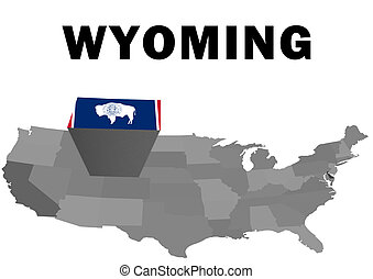 Wyoming - Outline map of the United States with the state of...