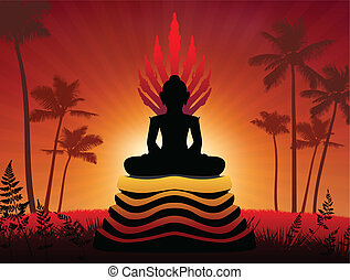 Buddha Statue Original Vector Illustration