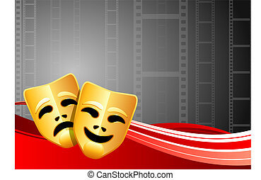 Comedy and Tragedy Masks on Film Reel Background