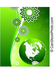 Green floral wave background with Globe