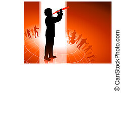 Flute Player on Red background