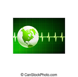 Simple cardiogram green background with globe