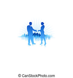 Businessman and Businesswoman meeting with Skyline Background