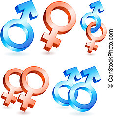 Male and Female Gender Symbols Original Vector Illustration...