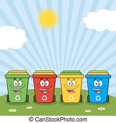 Color Recycle Bins On A Sunny Hill - Four Color Recycle Bins...