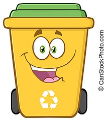 Happy Yellow Recycle Bin Cartoon Character