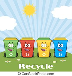Four Color Recycle Bins With Text - Four Color Recycle Bins...