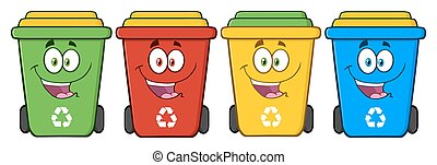Happy Four Color Recycle Bins - Four Color Recycle Bins...