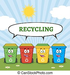 Four Color Recycle Bins Cartoon Character On A Sunny Hill...