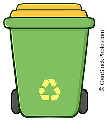 Green Recycle Bin Cartoon Illustration Isolated On White...