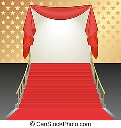stairs - background with stairs covered with red carpet