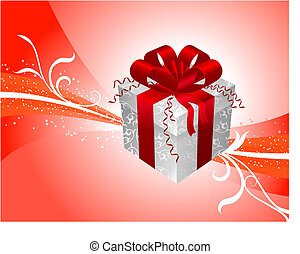 Gift on red Background