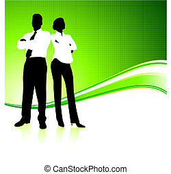 Business team on green environment background - Original...