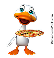 cute Duck cartoon character with pizza - 3d rendered...