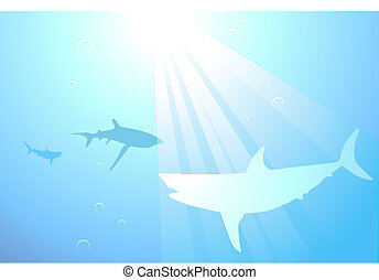 Sharks swimming in the ocean background