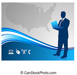 Businessman holdin laptop with United States background