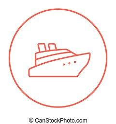 Cruise ship line icon. - Cruise ship line icon for web,...