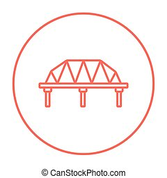Rail way bridge line icon - Rail way bridge line icon for...