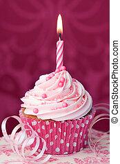 Cor-de-rosa, aniversário, Cupcake