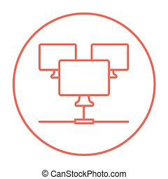 Computer network line icon. - Group of monitors linked in a...