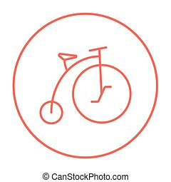 Old bicycle with big wheel line icon - Old bicycle with big...