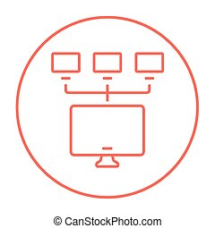 Computer network line icon - Group of monitors linked in a...