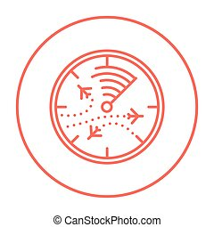 Radar screen with planes line icon. - Radar screen with...