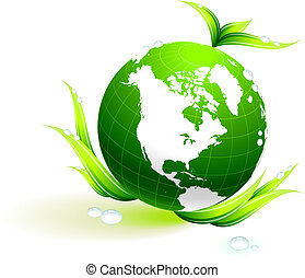 Globe on organic leaves background