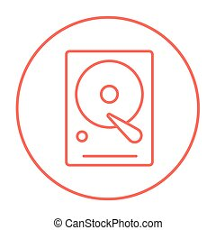 Hard disk line icon - Hard disk line icon for web, mobile...