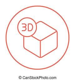 Three D box line icon - Three D box line icon for web,...