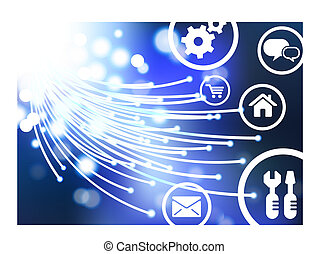 Original Vector Illustration: Fiber Optic cable internet background with online icons and buttons