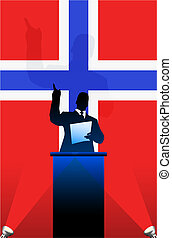 Norway flag with political speaker behind a podium