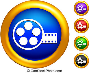 video film canister icon on  buttons with golden borders