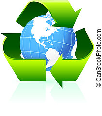 Recycling symbol with globe background