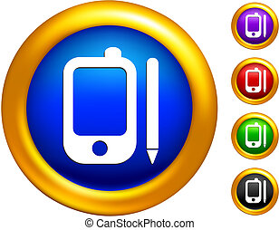 Phone icon on  buttons with golden borders