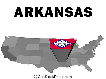 Arkansas - Outline map of the United States with the state...