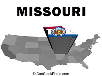 Missouri - Outline map of the United States with the state...